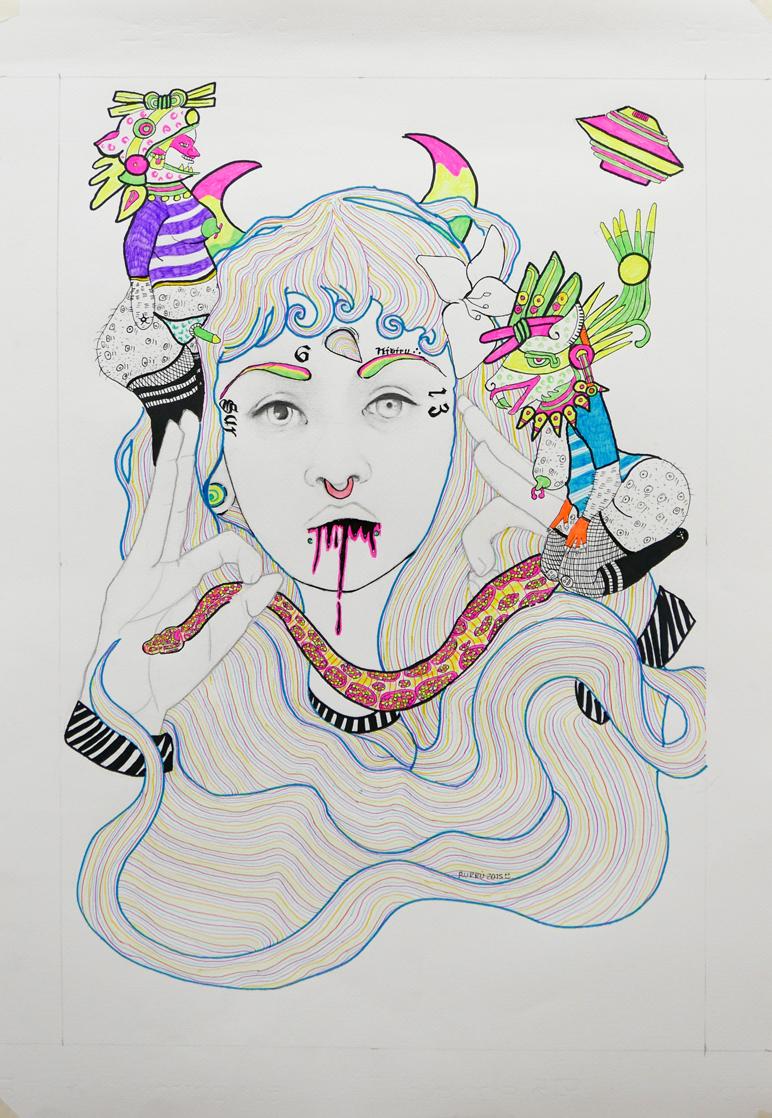Tlazoltéotl--perra,-latina-y-Chola-5-Papel,-bolígrafo,-lápiz-y-Pintura-acrílica-98x69cm.-2015