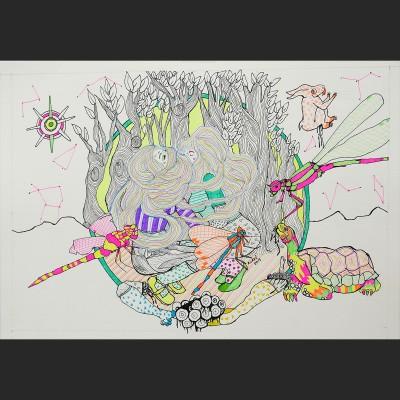 _libelula-papel-boli-pintura-acrilica-34x48cm-2015-410-euros