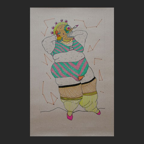 muerteobesa-papel-boli-pintura-acrilica-57x86-5cm-2016-550-euros