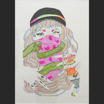 perra-latina-y-chola-4-papel-lapiz-y-pintura-acrilica-98x69cm-2016-850-euros