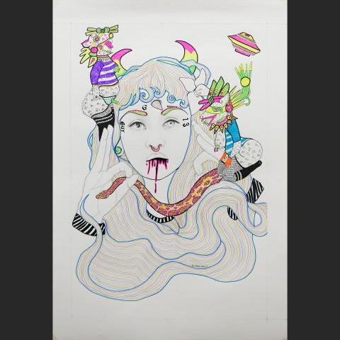 tlazolteotl-perra-latina-y-chola-5-papel-boligrafo-lapiz-y-pintura-acrilica-98x69cm-2015