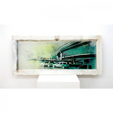 Tangential_spray and acrylic on found window_31x72 cm_2017_1500
