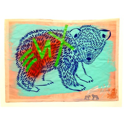 1.  Baby Bear (ENX 1) Hand Cut Stencil, Spray Paint on found Newsprint  Back detailing Signed frontback 2016  43x58 cm 800 €