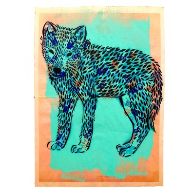 3.-Wolf-Pup-(ENX-3) -Hand-Cut-Stencil,-Spray-Paint,-Stamps,-Paint-on-found-Newsprint -Back-detailing-Signed-frontback-2016 -43x58-cm-800-€