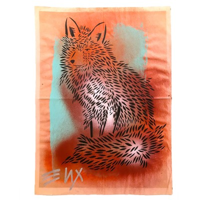 4.-Fox-(ENX-4) -Hand-Cut-Stencil,-Spray-Paint-on-found-Newsprint -Back-detailing-Signed-frontback-2015 -43-x-58-cm-800-€