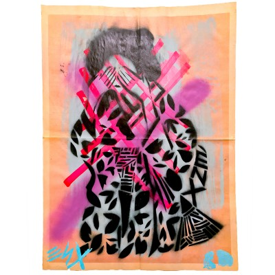 7.-Kimono-Girl--Invisible-World-(ENX-7) -Hand-Cut-Stencil,-Spray-Paint,-Paint-Markers,-Embossing-on-found-Newsprint -Back-detailing-Signed-frontback-2015 -43-x-58-cm-600-€
